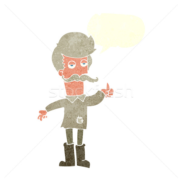 cartoon old man in poor clothes with speech bubble Stock photo © lineartestpilot