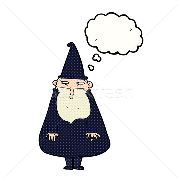 cartoon wizard with thought bubble Stock photo © lineartestpilot