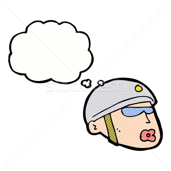 Cartoon policjant głowie bubble myśl strony projektu Zdjęcia stock © lineartestpilot