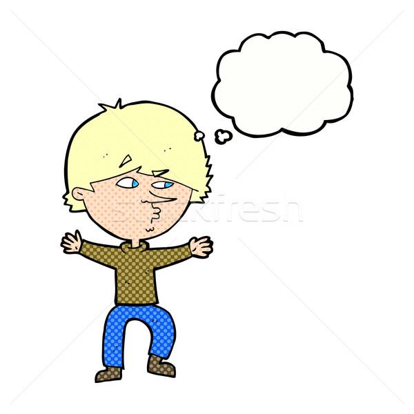 Cartoon подозрительный человека мысли пузырь стороны дизайна Сток-фото © lineartestpilot