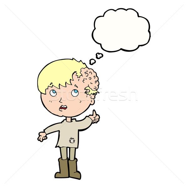 Karikatür erkek büyüme kafa düşünce balonu el Stok fotoğraf © lineartestpilot