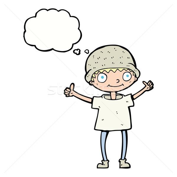漫畫 男孩 積極的態度 思想泡沫 手 男子 商業照片 © lineartestpilot