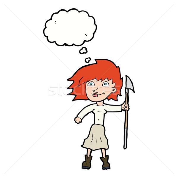 Cartoon femme lance bulle de pensée main design Photo stock © lineartestpilot