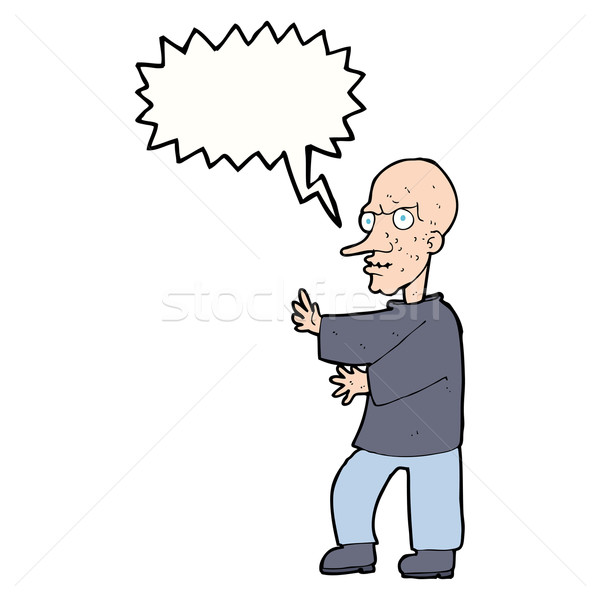 cartoon mean looking man with speech bubble Stock photo © lineartestpilot