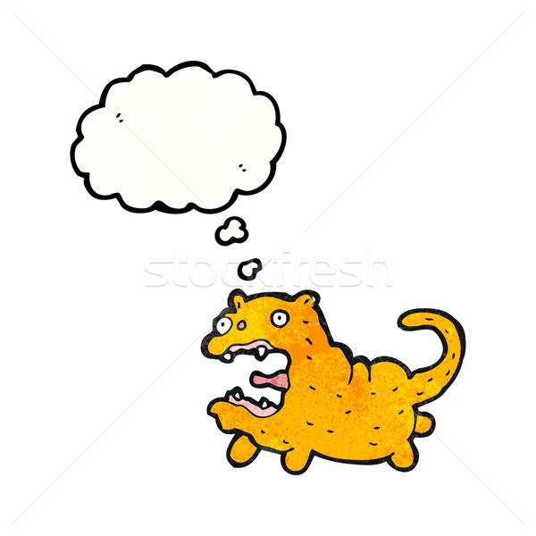 Stock fotó: őrült · rajz · macska · gondolatbuborék · beszél · retro