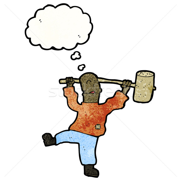 cartoon man swinging big hammer Stock photo © lineartestpilot
