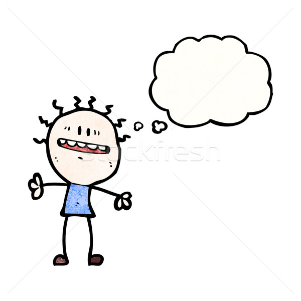 Ansioso energia uomo bolla di pensiero retro disegno Foto d'archivio © lineartestpilot