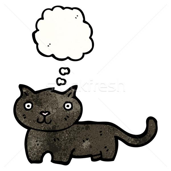 黒猫 漫画 黒 レトロな バルーン 図面 ストックフォト © lineartestpilot