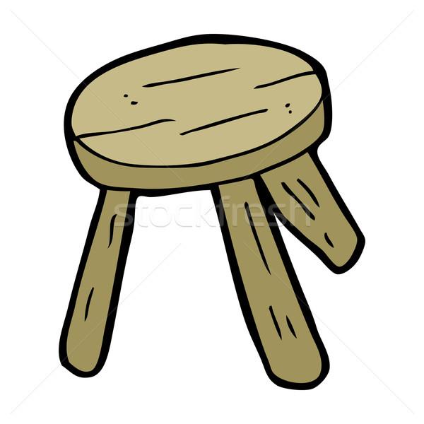 Cartoon legno sgabello mano legno design Foto d'archivio © lineartestpilot