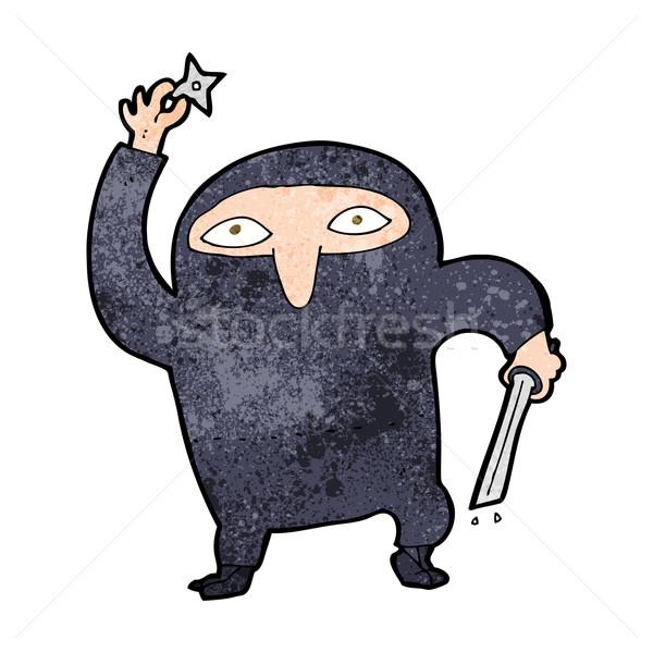 Cartoon ninja ontwerp kunst retro grappig Stockfoto © lineartestpilot