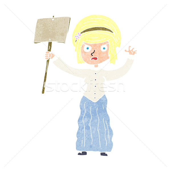 cartoon vicorian woman protesting Stock photo © lineartestpilot