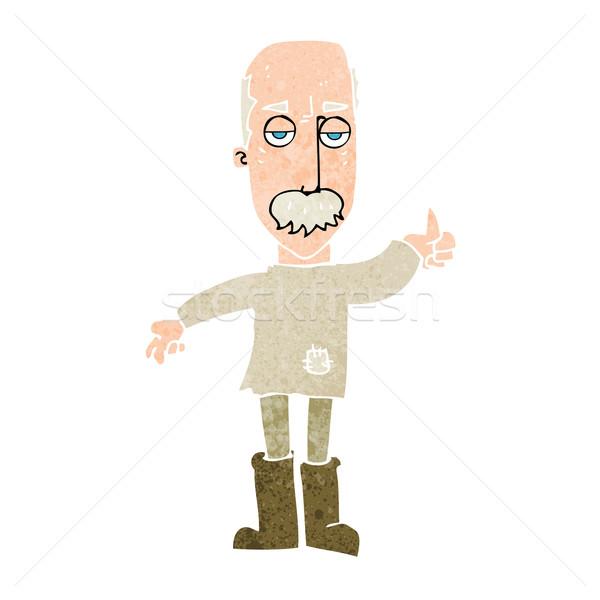 Cartoon agacé vieillard main design fou Photo stock © lineartestpilot