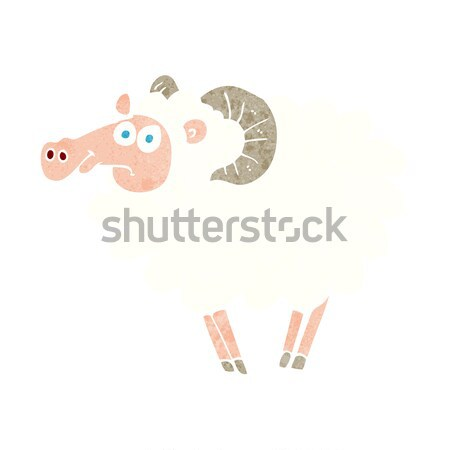 Karikatur Widder Hand Design Bauernhof crazy Stock foto © lineartestpilot