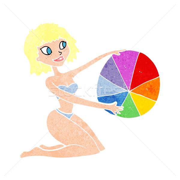 cartoon bikini girl with beach ball Stock photo © lineartestpilot