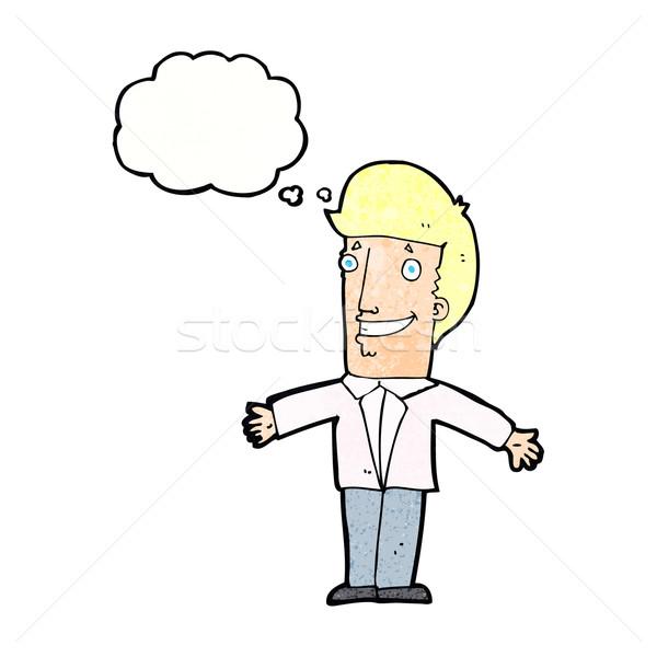 Cartoon человека открытых оружия мысли пузырь стороны Сток-фото © lineartestpilot