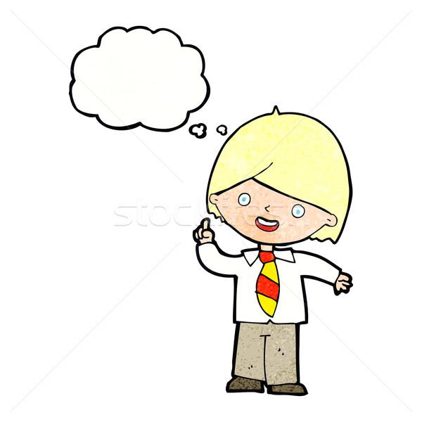 Cartoon школьник вопросе мысли пузырь стороны школы Сток-фото © lineartestpilot
