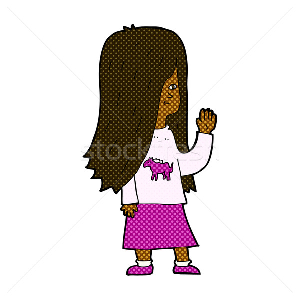 comic cartoon girl with pony shirt waving Stock photo © lineartestpilot