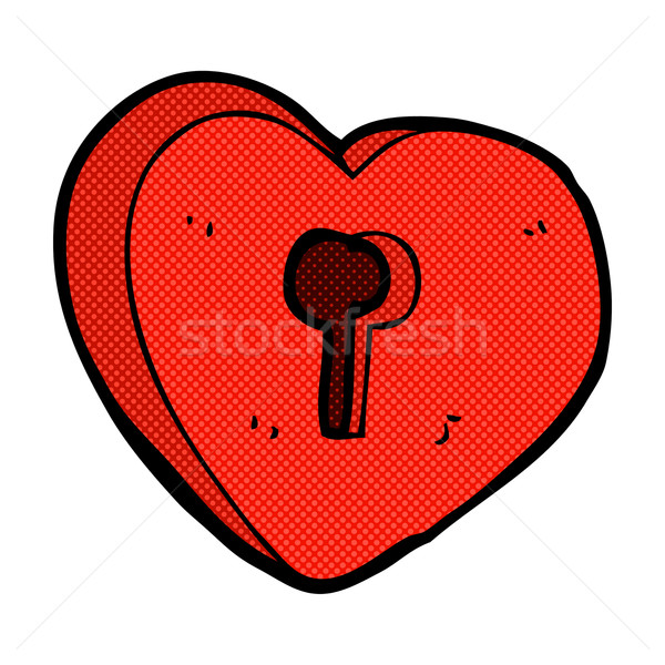 comic cartoon heart with keyhole Stock photo © lineartestpilot