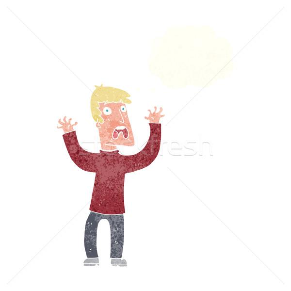 Cartoon przestraszony człowiek bubble myśl strony projektu Zdjęcia stock © lineartestpilot