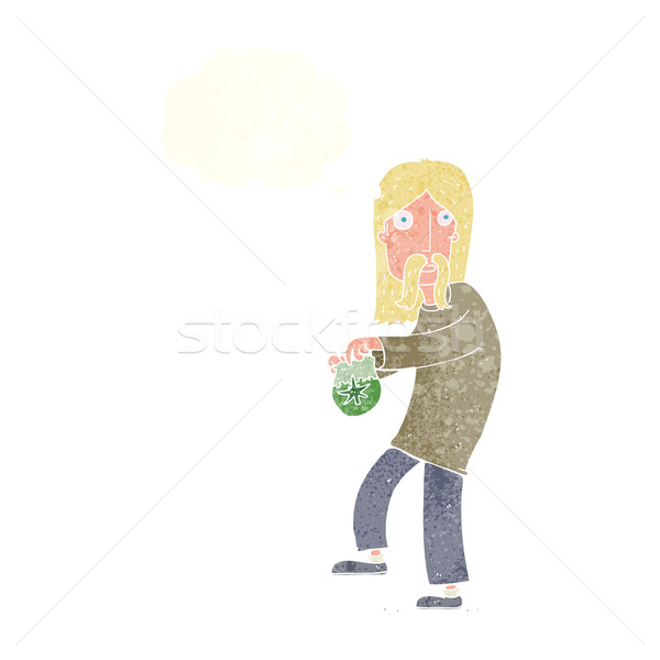 cartoon hippie man with bag of weed with thought bubble Stock photo © lineartestpilot