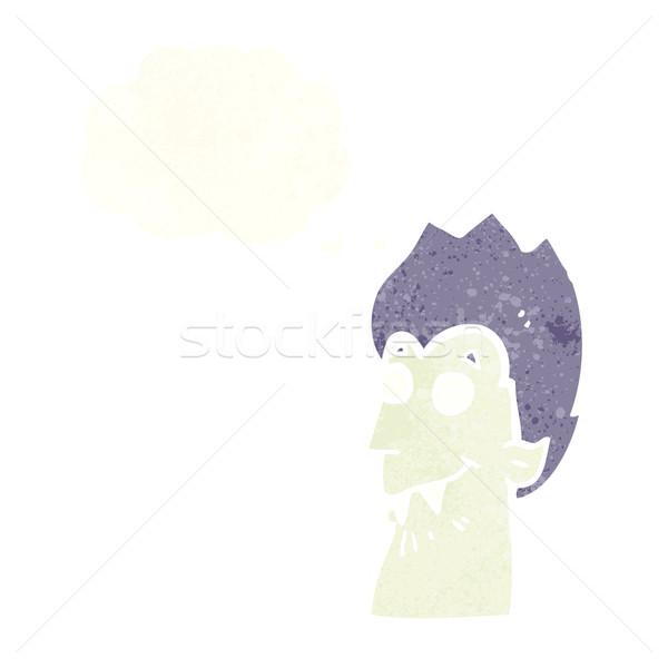 Desenho animado vampiro cabeça balão de pensamento mão projeto Foto stock © lineartestpilot