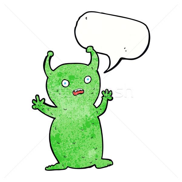 Desenho animado engraçado pequeno alienígena balão de fala mão Foto stock © lineartestpilot