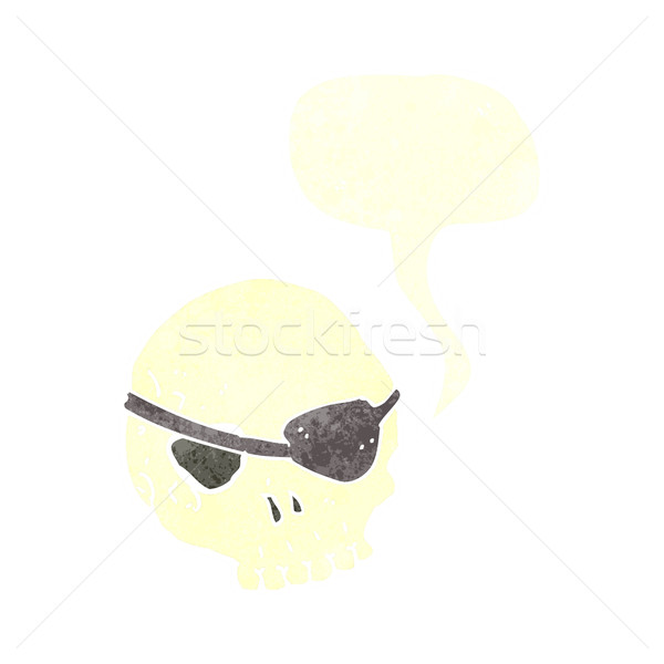 cartoon skull with eye patch with speech bubble Stock photo © lineartestpilot