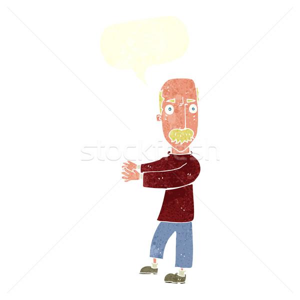 cartoon balding man explaining with speech bubble Stock photo © lineartestpilot