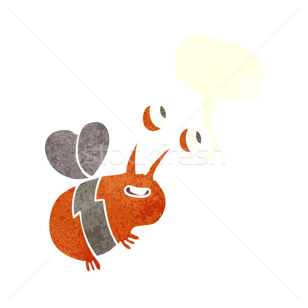 cartoon happy bee with speech bubble Stock photo © lineartestpilot