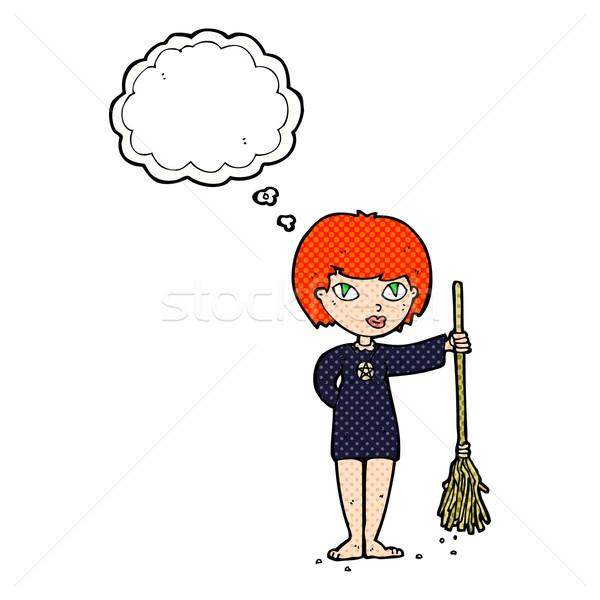 Cartoon довольно ведьмой девушки мысли пузырь женщину Сток-фото © lineartestpilot