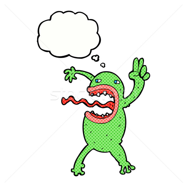 cartoon crazy frog with thought bubble Stock photo © lineartestpilot