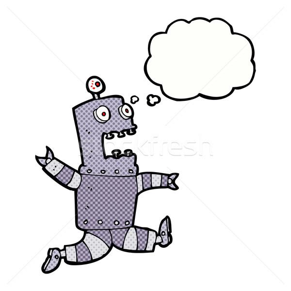 Cartoon przerażony robot bubble myśl strony projektu Zdjęcia stock © lineartestpilot