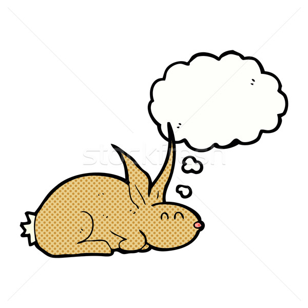 Cartoon кролик мысли пузырь стороны дизайна Bunny Сток-фото © lineartestpilot