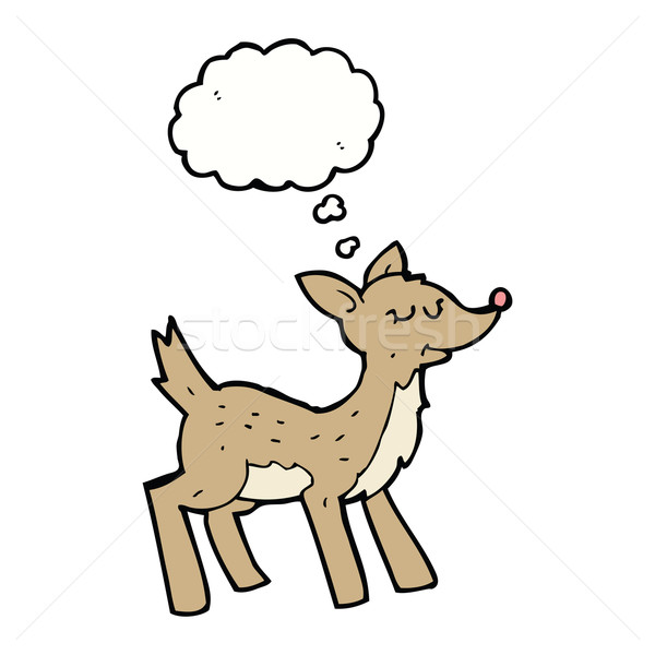 cute cartoon deer with thought bubble Stock photo © lineartestpilot