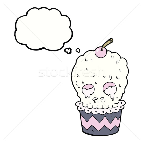 spooky skull cupcake cartoon with thought bubble Stock photo © lineartestpilot
