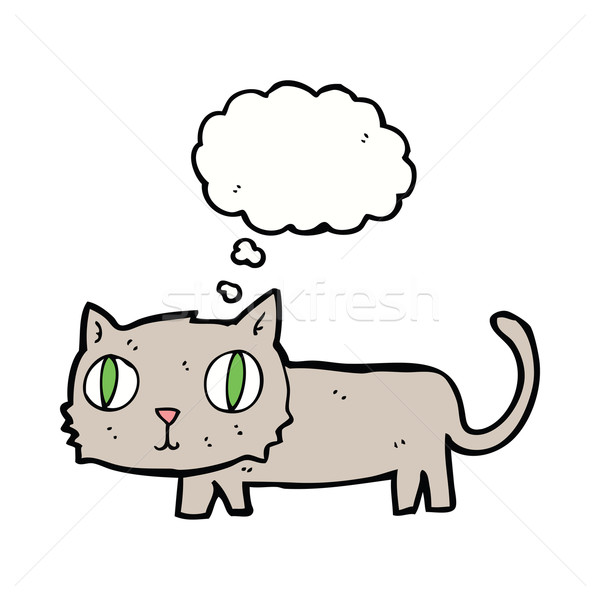 Cartoon cat bolla di pensiero mano design Crazy Foto d'archivio © lineartestpilot