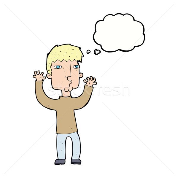 Desenho animado ansioso homem balão de pensamento mão projeto Foto stock © lineartestpilot