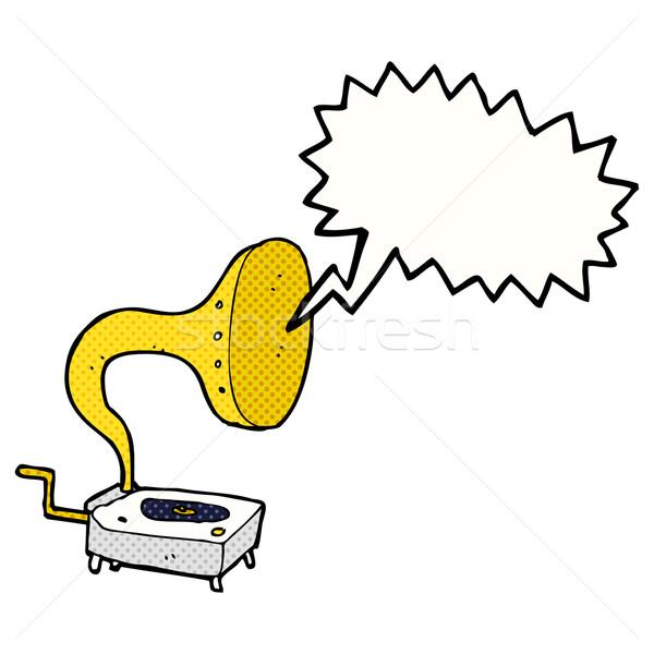Rajz gramofon szövegbuborék kéz terv művészet Stock fotó © lineartestpilot