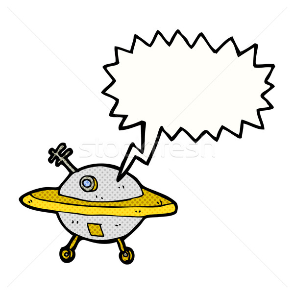 cartoon flying saucer with speech bubble Stock photo © lineartestpilot