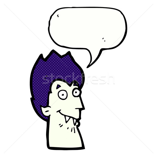 cartoon vampire head with speech bubble Stock photo © lineartestpilot