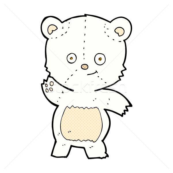 comic cartoon waving polar bear Stock photo © lineartestpilot