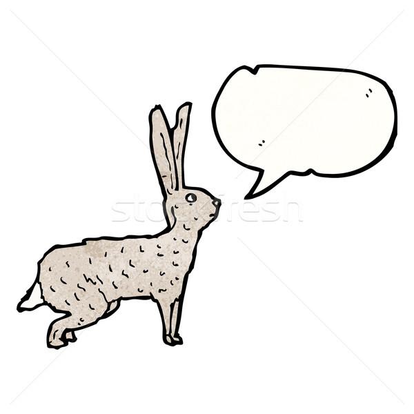 Haas illustratie konijn bunny praten retro Stockfoto © lineartestpilot