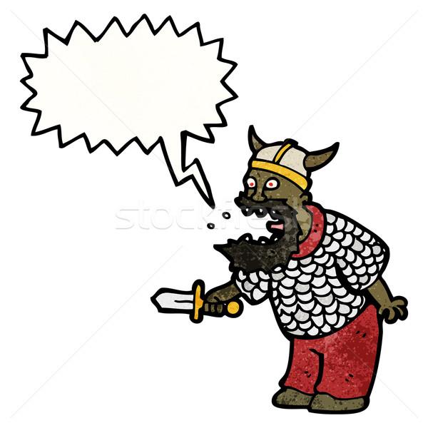 Rajz kiált középkori harcos retro rajz Stock fotó © lineartestpilot