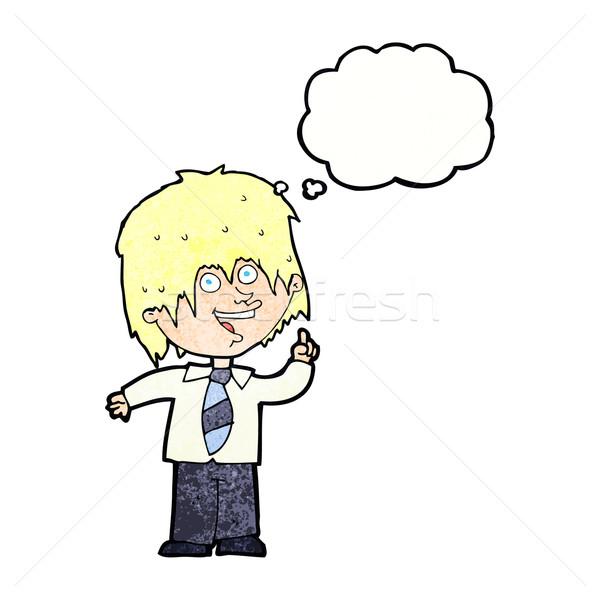 Cartoon школьник Идея мысли пузырь стороны человека Сток-фото © lineartestpilot