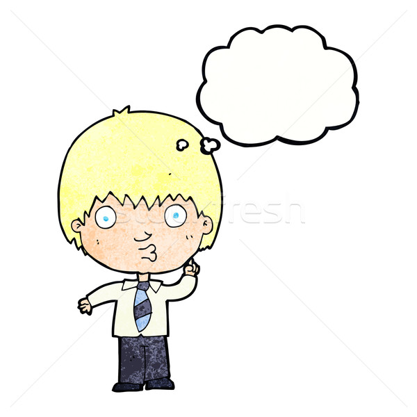 cartoon school boy answering question with thought bubble Stock photo © lineartestpilot