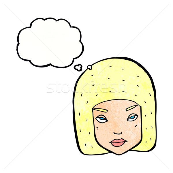 Rajz bosszús női arc gondolatbuborék lány Stock fotó © lineartestpilot