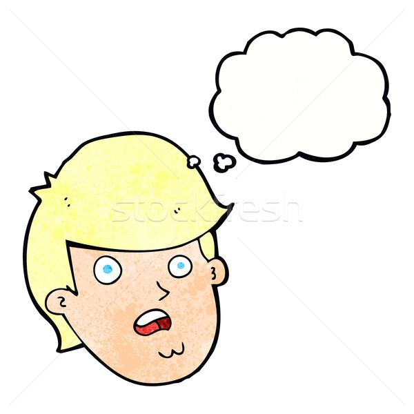 Desenho animado homem grande queixo balão de pensamento mão Foto stock © lineartestpilot