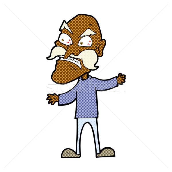 comic cartoon angry old man Stock photo © lineartestpilot