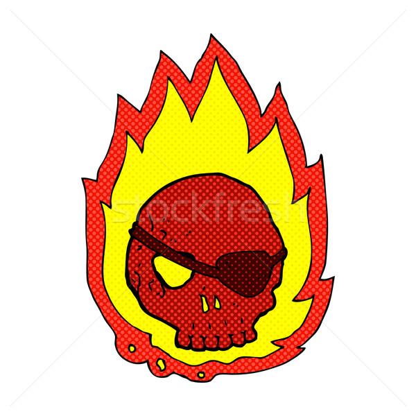 Komische cartoon brandend schedel retro Stockfoto © lineartestpilot