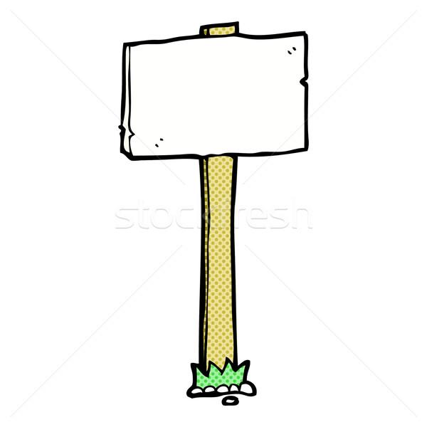 Cômico desenho animado poste de sinalização retro estilo Foto stock © lineartestpilot